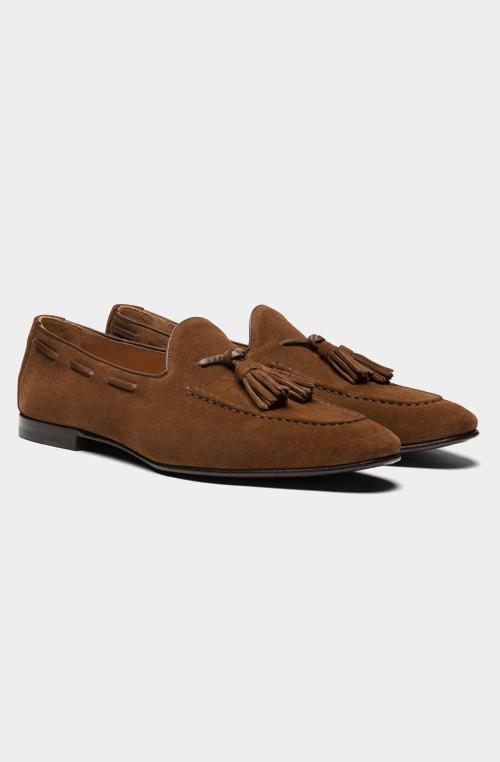 棕色流苏乐福鞋