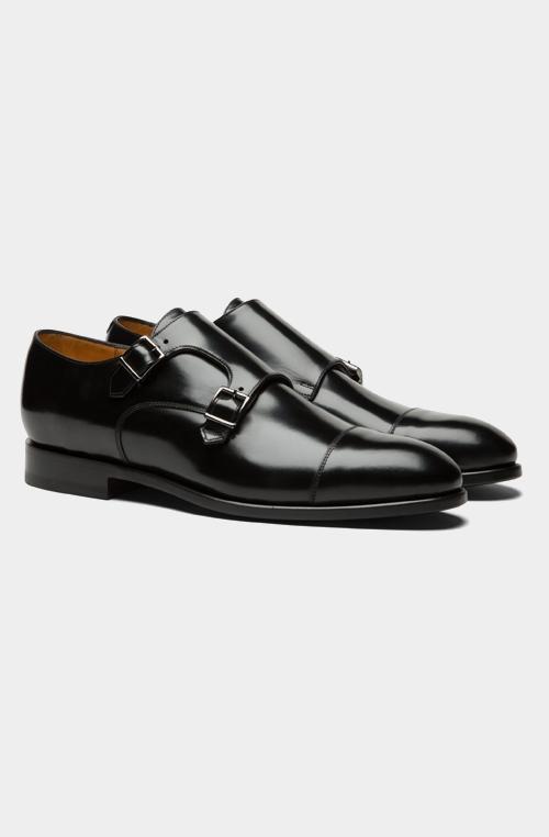 黑色双孟克皮鞋